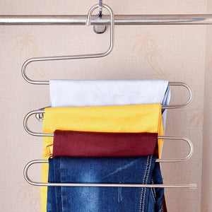TEERFU 3 Pack Study Pants Hangers S-Type Stainless Steel Trousers Rack 5 Layers Multi-Purpose Closet Hangers Magic Space Saver Storage Rack for Clothes/Towel/ Scarf/Trousers/ Tie