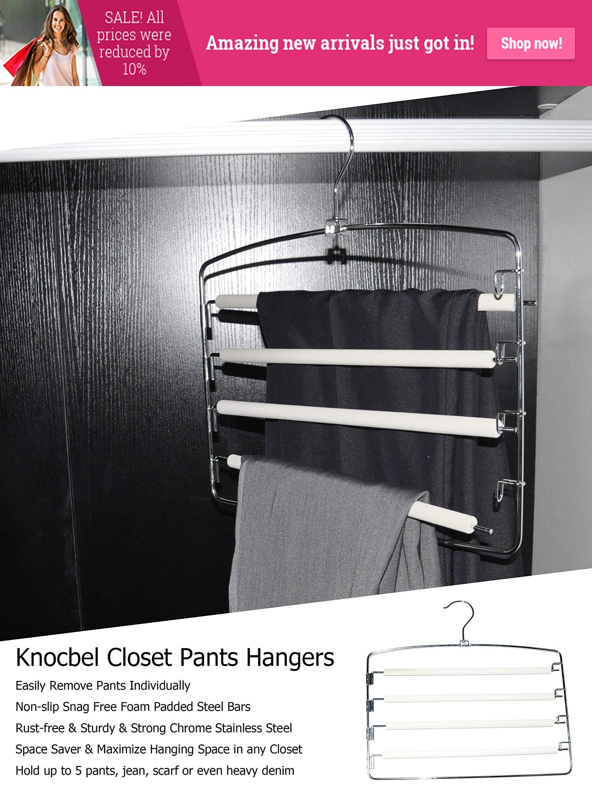 Knocbel Pants Clothes Hanger Closet Organizer 4 Layers Non Slip Swing Arm Hangers Hook Rack for Slacks Jeans Trousers Skirts Scarf 2-Pack (Beige)
