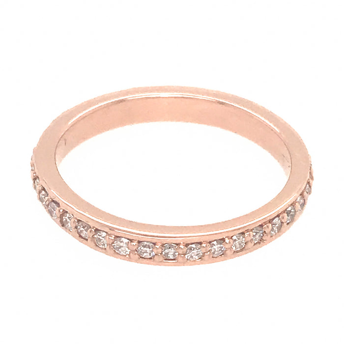 14k Pink Gold Bead Set Diamond Wedding Band