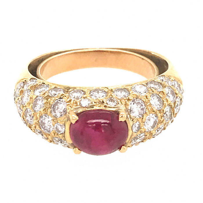 18k Yellow Gold Pave Diamond and Ruby Cabochon Ring