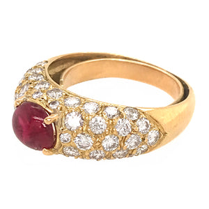 18k Yellow Gold Diamond and Ruby Cabochon Ring