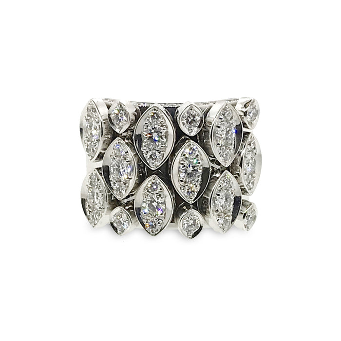 Cartier 18K White Gold Diamond Marquee Ring Size 6.75