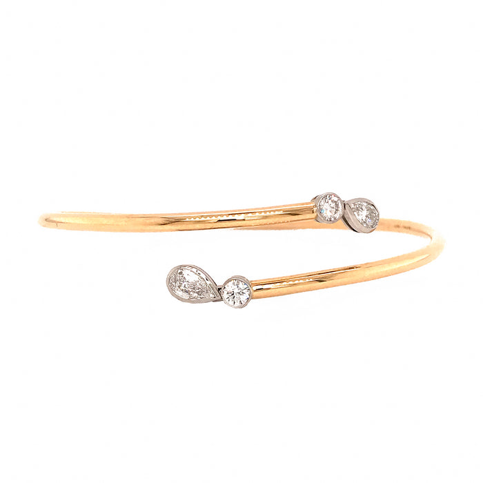 Charming 18k Yellow Gold and Platinum Diamond Slip-on Bracelet
