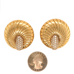 Demner 18k Yellow Gold Shell Diamond Earrings
