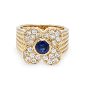 Van Cleef & Arpels 18K Yellow Gold Diamond and Sapphire Floral Ring Size: 5.75