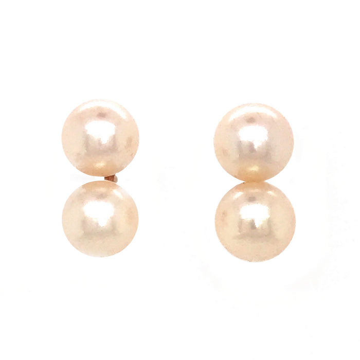 14k Yellow Gold Double Pearl Earrings