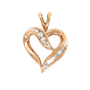10k Yellow Gold Heart Diamond Pendant
