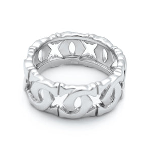 Cartier 18K White Gold C Ring Size 7.5