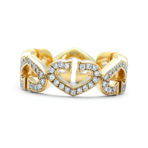 Cartier 18K Yellow Gold Diamond C Heart Ring Size 6.5