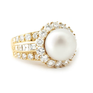 Van Cleef & Arpels 18KYellow Gold Diamond & Pearl Ring Size: 6.5