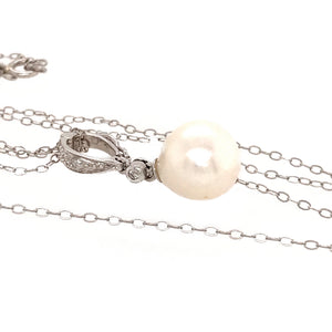 14k White Gold Pearl Drop Pendant  Necklace