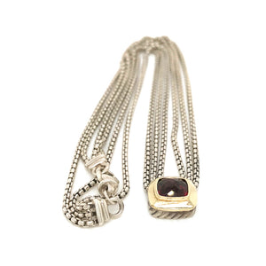 David Yurman Sterling Silver and 18k Yellow Gold 3 Cable Chains Albion Garnet Pendant Necklace