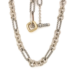 David Yurman Silver and 18k Yellow Gold Figaro Necklace