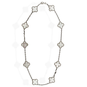 Van Cleef & Arpels 18K White Gold 10 Motif Mother of Pearl Alhambra Necklace Length: 16""