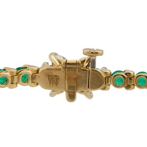 Tiffany & Co. 18K Yellow Gold Diamond and Emerald Tennis Bracelet