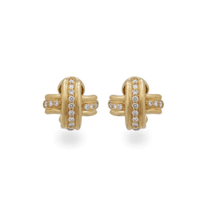 Tiffany & Co 18K Yellow Gold Diamond Signature X Earrings