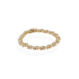 "Tiffany & Co. 18K Yellow Gold Diamond Signature ""X"" Bracelet Length: 7.5"""