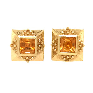 18k Yellow Gold Square Citrine Earrings