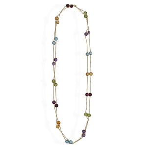 Estate 14K Yellow Gold Multi-Stone Station Necklace Length: 21.5""