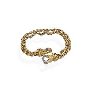 David Yurman 18K Yellow Gold Diamond Double Cable Buckle Bracelet Length: 8""