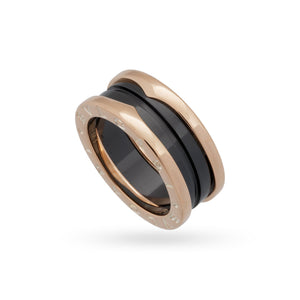 Bvlgari 18K Rose Gold Black Ceramic B.Zero1 Ring Size 6
