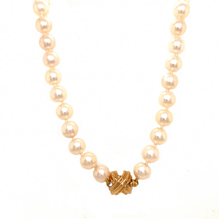 Tiffany and Co. Akoya Pearls with 18k Yellow Gold X Clasp Necklace