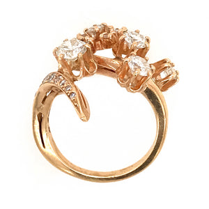 Estate 14k Yellow Gold Diamond Cluster Ring