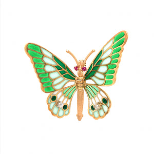 Whimsical Articulating 18k Yellow Gold Butterfly Enamel Pin