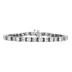 Estate Platinum Round Baguette Diamond Bracelet Length: 7""