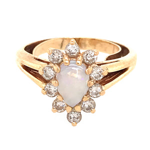 Sweet 14k Yellow Gold Opal and Diamond Ring