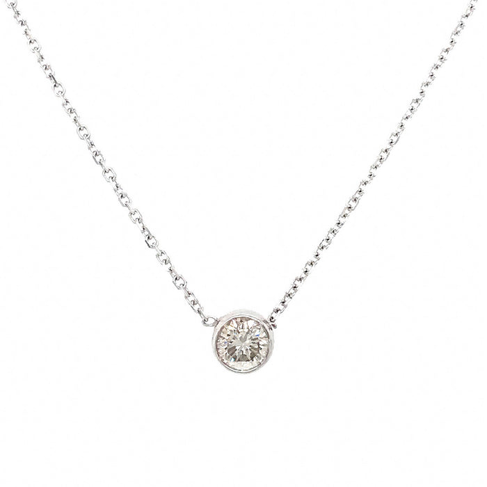 14k White Gold .40  Bezel Set Diamond Pendant Necklace