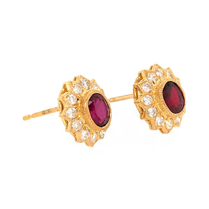 Sweet 18k Yellow Gold Ruby and Diamond Cluster Earrings