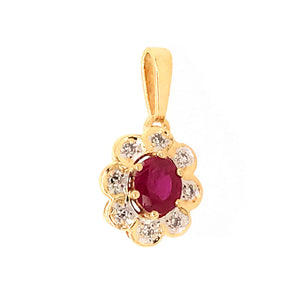 Sweet 14k Yellow Gold Ruby and Diamond Pendant