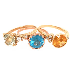 14k Yellow Gold 3 Set Topaz Ring