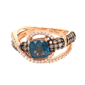 Levian 14k Pink Gold Deep Blue Sea Topaz and Diamond Ring