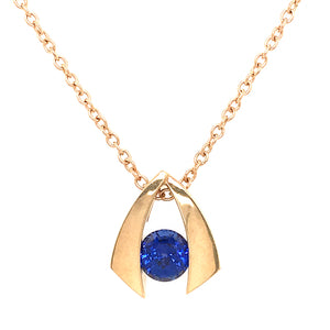 14k Yellow Gold Iolite Gemstone Pendant Necklace