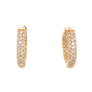 18K Yellow Gold Inside Out Diamond Hoop Earrings