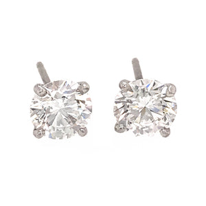 GIA CERTIFIED 14k White Gold 1.60 ct Diamond Stud Earrings