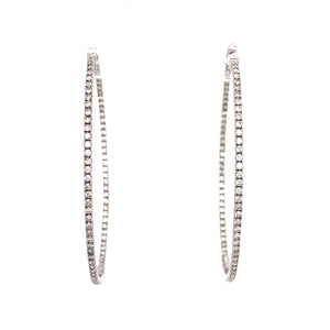14k White Gold Inside-Out Oval Hoop Earrings