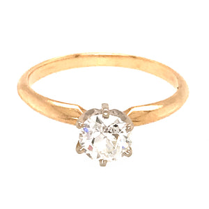 Pretty 14k Yellow Gold Diamond Solitaire Engagement Ring