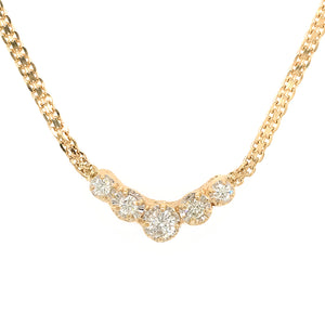 14k Yellow Gold Bismack Chain 5-Stone Diamond Pendant Necklace