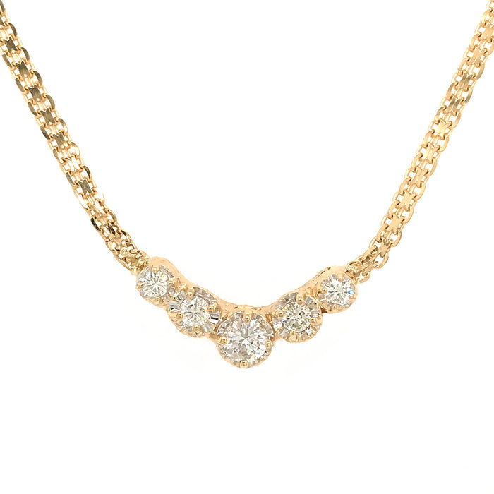 14k Yellow Gold Bismark Chain 5-Stone Diamond Pendant Necklace