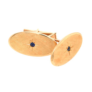 Tiffany and Co. 14k Yellow Gold Textured with Sapphire Cufflinks