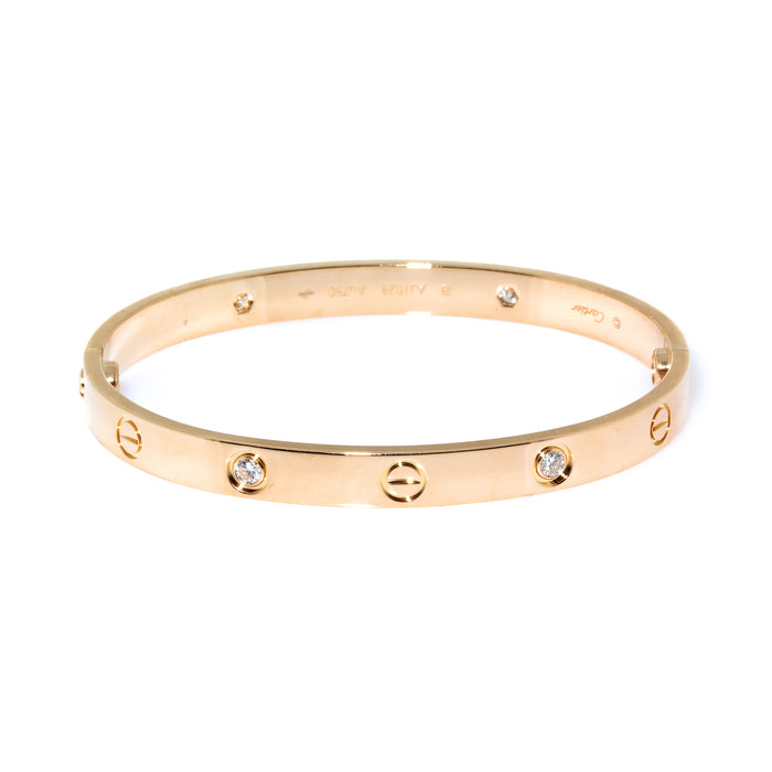 Cartier 18K Rose Gold 4 Diamond Love Bracelet Size 18 - New Locking mechanism