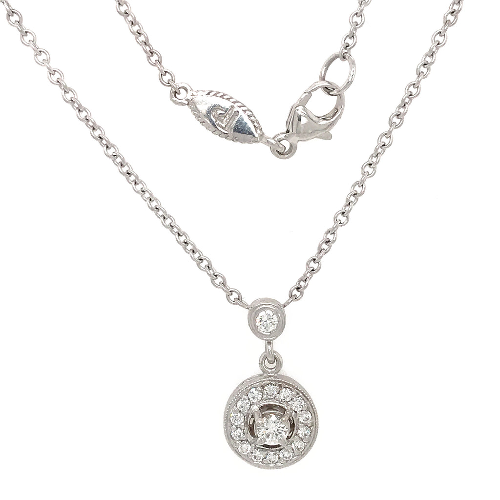 18K White Gold Diamond Round Pendant on a Diamond by the Yard Chain Necklace