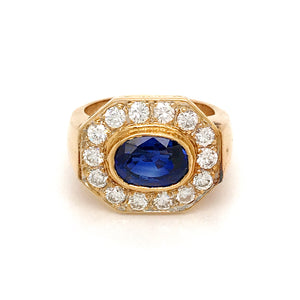 VINTAGE 14K YELLOW GOLD OVAL SAPPHIRE AND DIAMOND RING