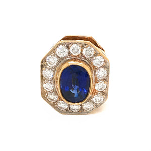 18k Yellow Gold Sapphire and Diamond Slide For Necklace