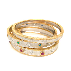18k Two-Tone Gold with Ruby, Sapphire, Emerald and Diamond Bangle Stackable Set