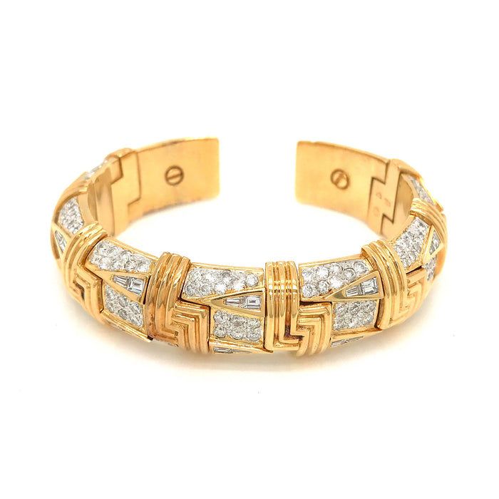 Substantial Yellow Gold Diamond Cuff Bracelet