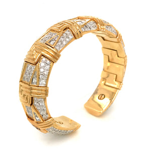 IMPORTANT LOOKING 18K YELLOW GOLD DIAMOND CUFF BRACELET
